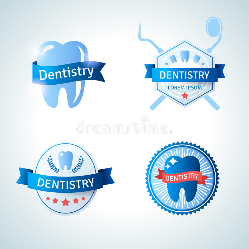 牙科的牙齿象征收藏和 向量例证