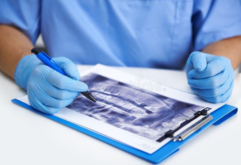 牙科医生在办公室 免版税库存照片