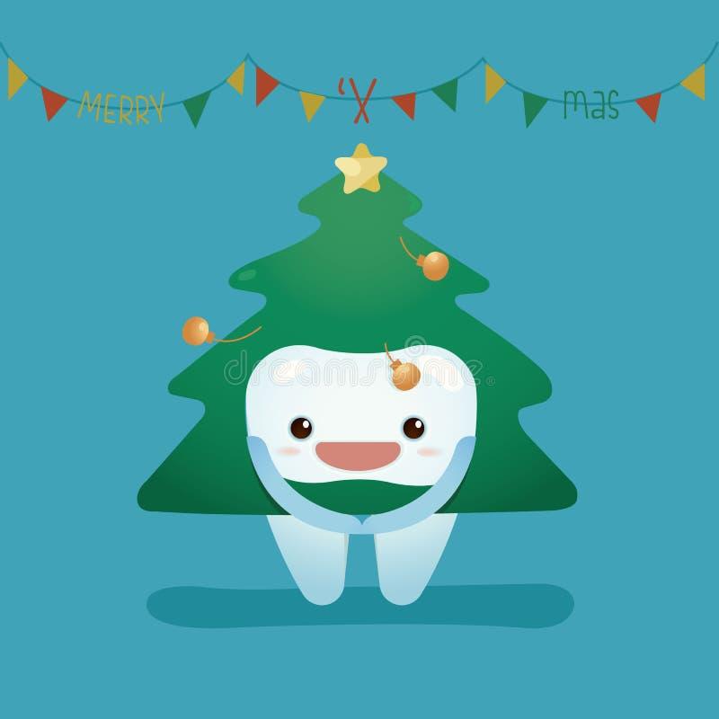 牙穿戴圣诞节随员 向量例证