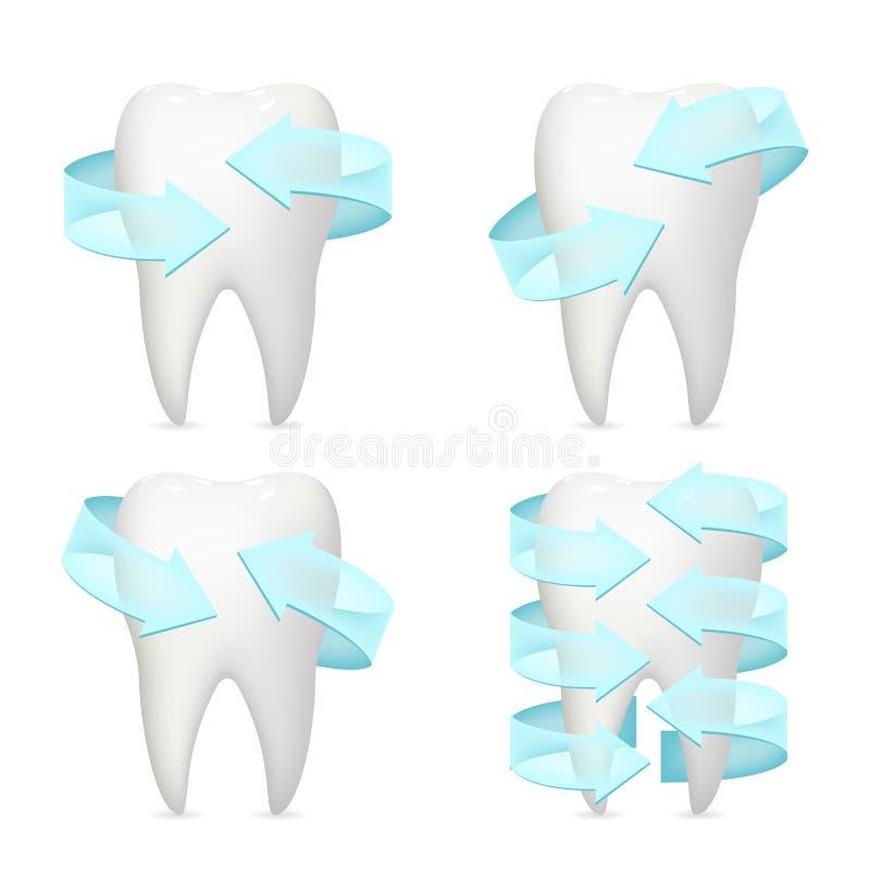 牙箭头保护现实3d海报口腔医学隔绝了象被设置的模板嘲笑设计传染媒介例证 向量例证