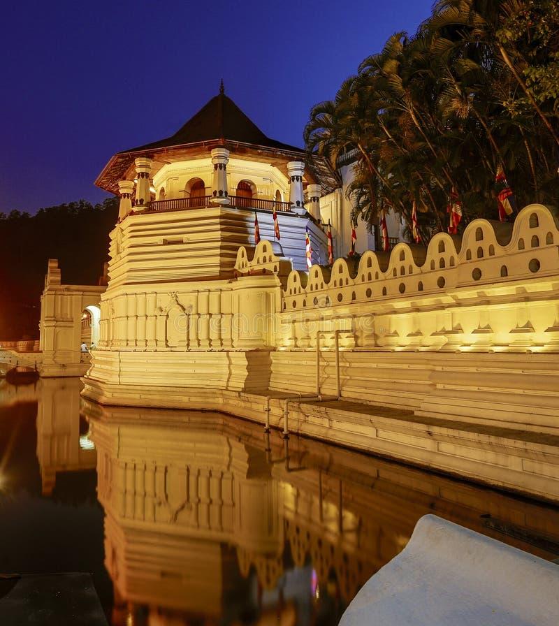 牙遗物和反射凌晨的寺庙在康提斯里兰卡 图库摄影