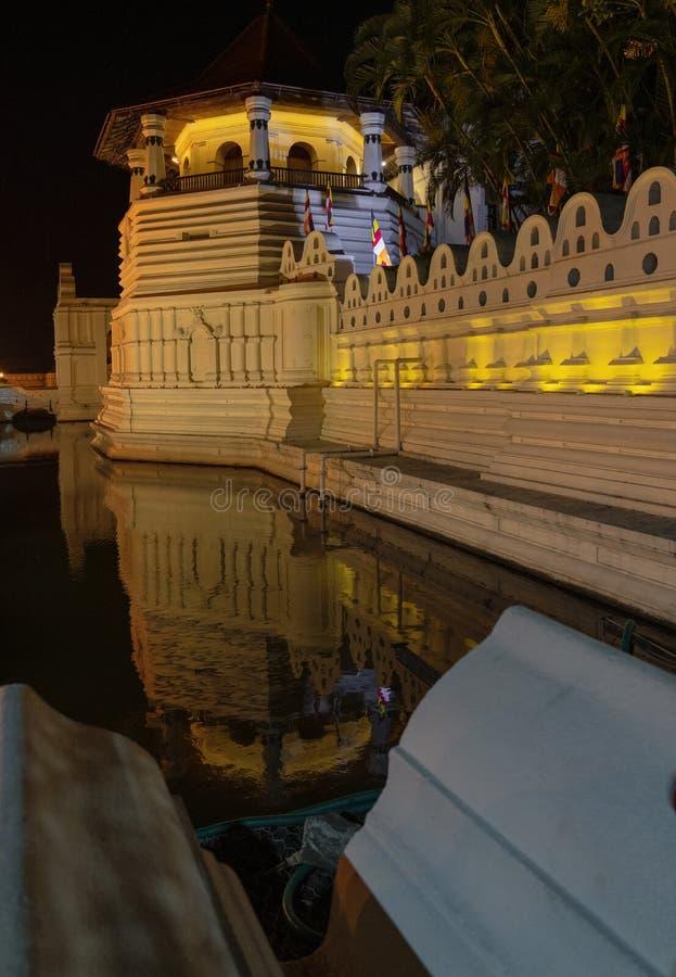 牙遗物和反射凌晨的寺庙在康提斯里兰卡 免版税库存图片