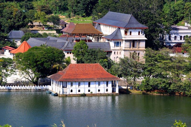 牙遗物寺庙在康提,斯里兰卡 免版税库存照片