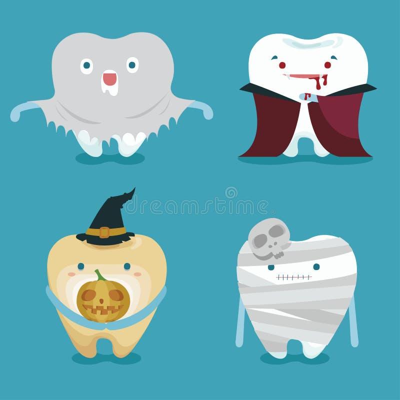 牙集合的万圣夜概念 向量例证