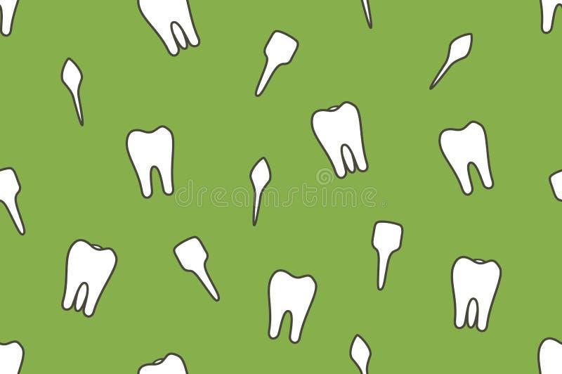 牙齿传染媒介无缝的样式-牙类型 向量例证