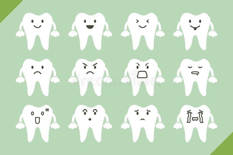 牙齿传染媒介设置了-设计的逗人喜爱的动画片牙 皇族释放例证