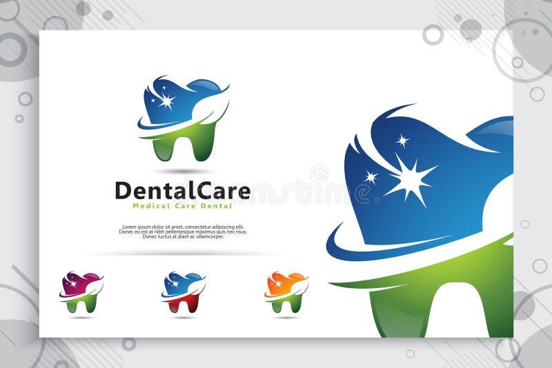 牙齿保护传染媒介与现代自然概念,与现代颜色样式的标志例证创造性的模板的商标设计 库存例证