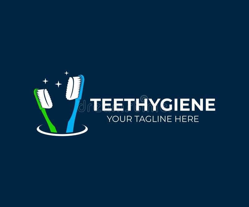 牙齿保护和牙刷在玻璃,商标设计 清洗口腔卫生、的牙,健康,医疗和牙科,传染媒介设计 向量例证