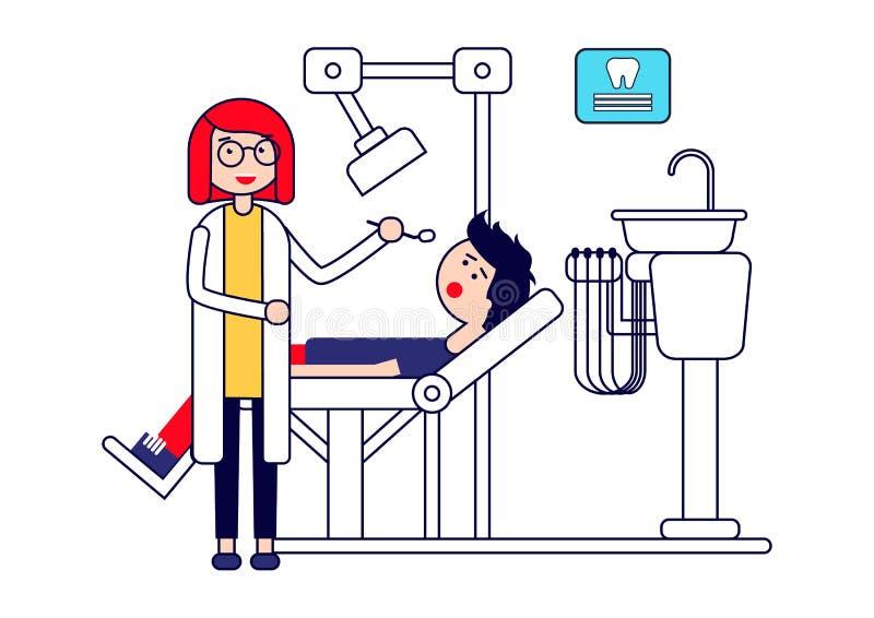 牙齿保护或治疗 女性牙医审查患者的牙 背景查出的白色 皇族释放例证