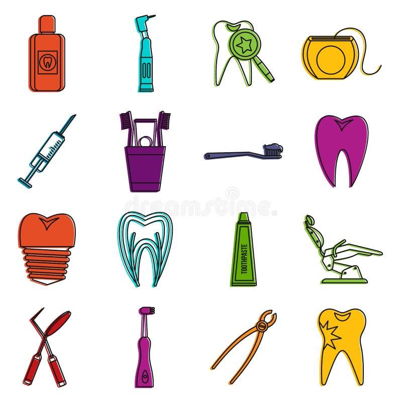 牙齿保护象乱画集合 库存例证