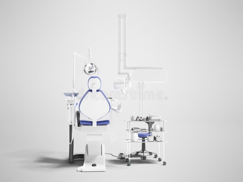 牙齿办公室的现代蓝色椅子有牙科工具3d rende的 库存例证