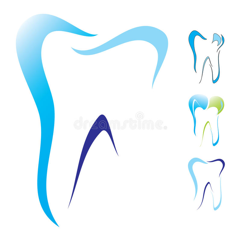 牙齿图标集合牙 免版税库存图片