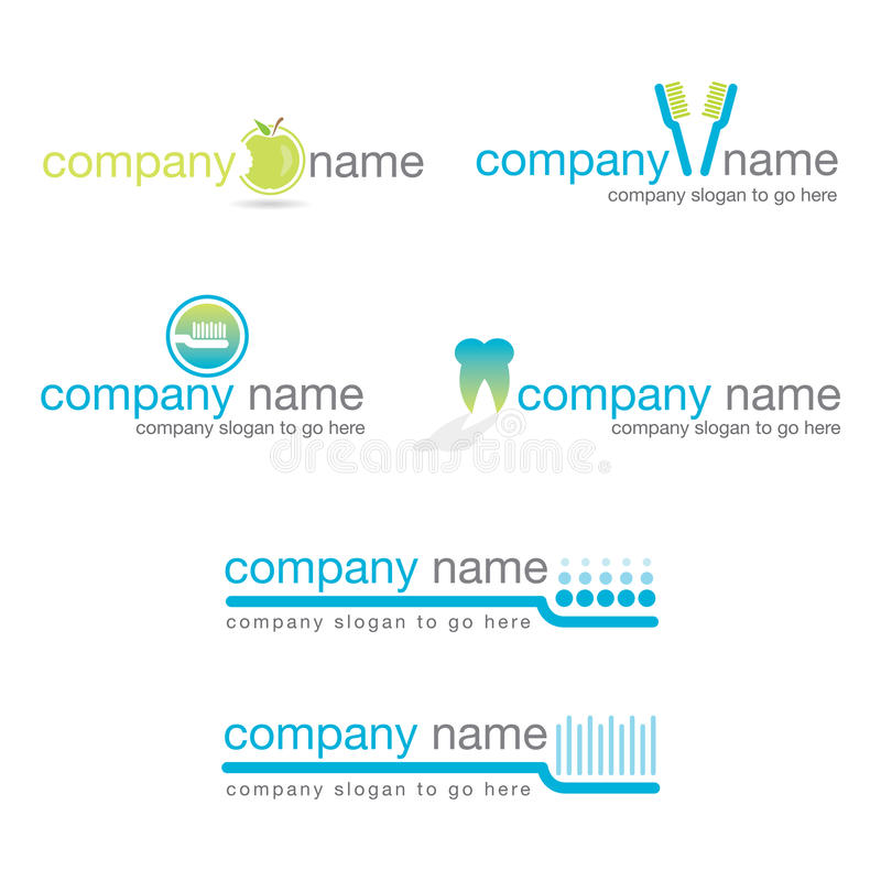 牙齿徽标设置了六向量 库存例证