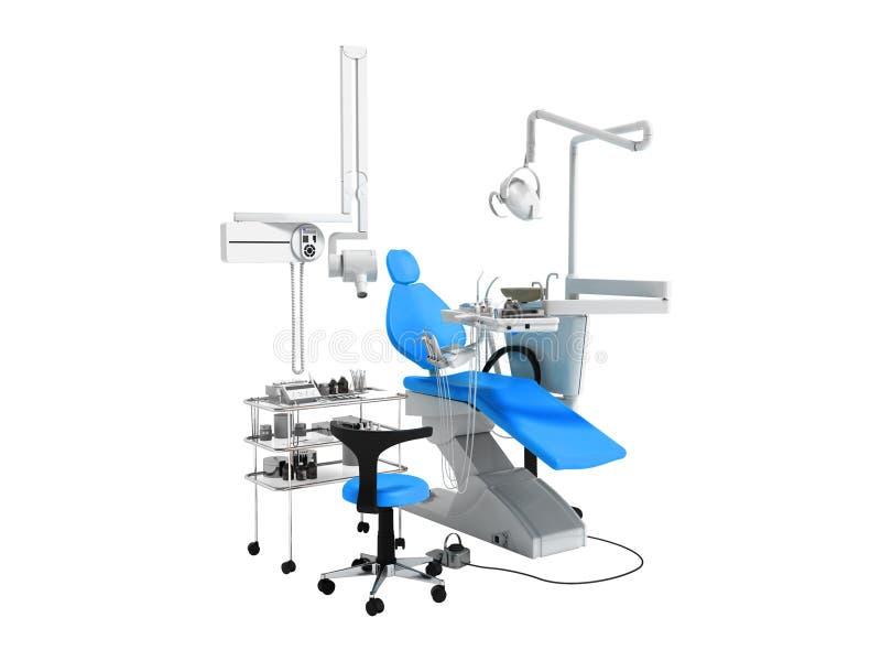牙齿治疗的3d现代蓝色牙科设备回报在w 库存例证
