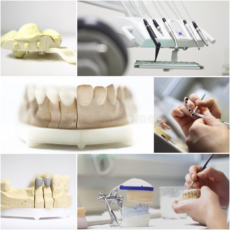 牙齿牙医反对拼贴画 库存图片