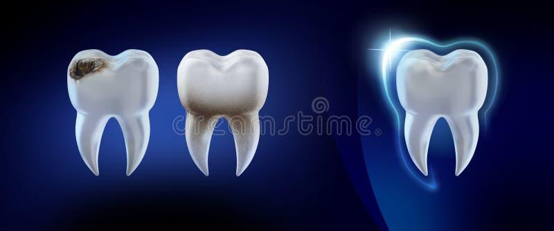 牙齿的背景 3d例证 向量例证