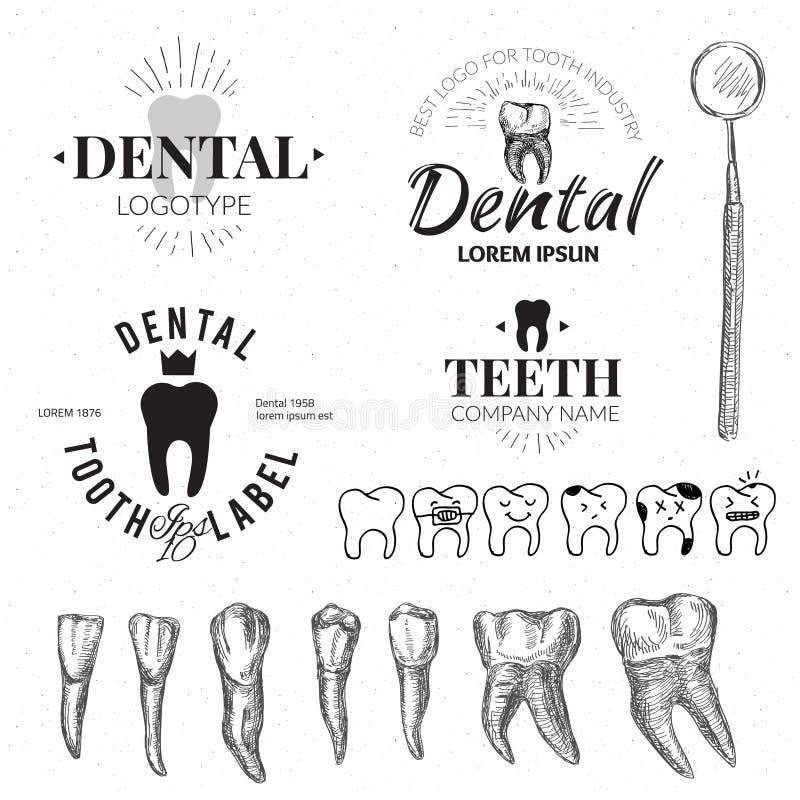 牙齿被设置的标签和象 向量 皇族释放例证