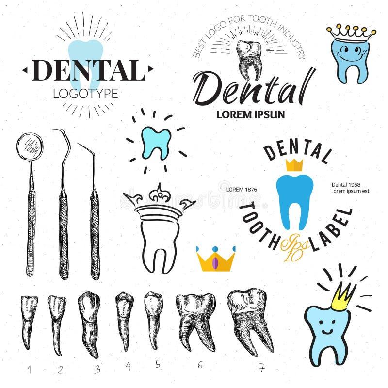 牙齿被设置的标签和象 向量 库存例证