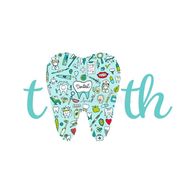 牙齿诊所概念,您的设计的剪影 皇族释放例证