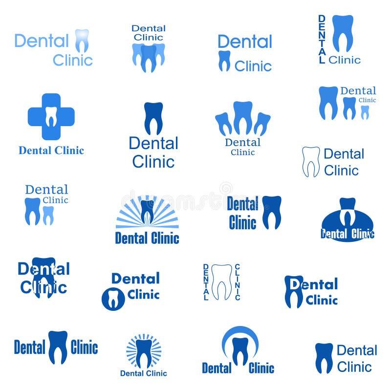 牙齿诊所的抽象象 设置与蓝色字法的商标与人的牙和在白色背景的牙齿卫生学 免版税图库摄影