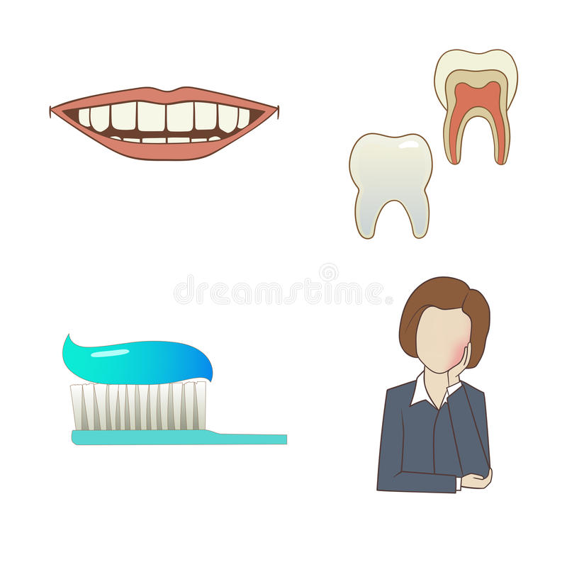 牙齿集 向量例证