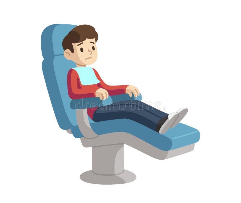 牙医椅子的孩子 皇族释放例证