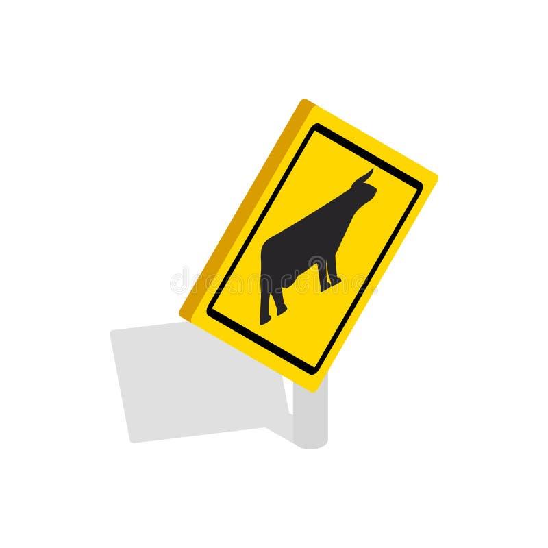 牛交易警告象,等量3d样式 皇族释放例证
