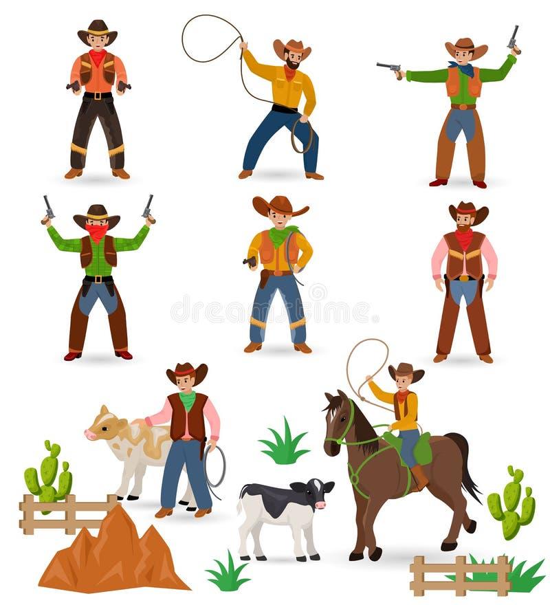 牛仔传染媒介西部母牛男孩或野生西部警长在有仙人掌例证的野生生物沙漠签署帽子或马掌 向量例证