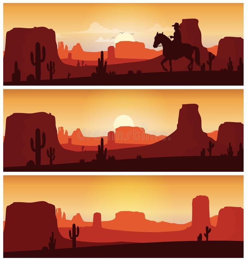 牛仔反对日落背景的骑乘马 狂放的西部剪影横幅 向量例证