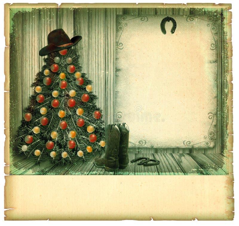 牛仔圣诞卡。美国葡萄酒 免版税图库摄影