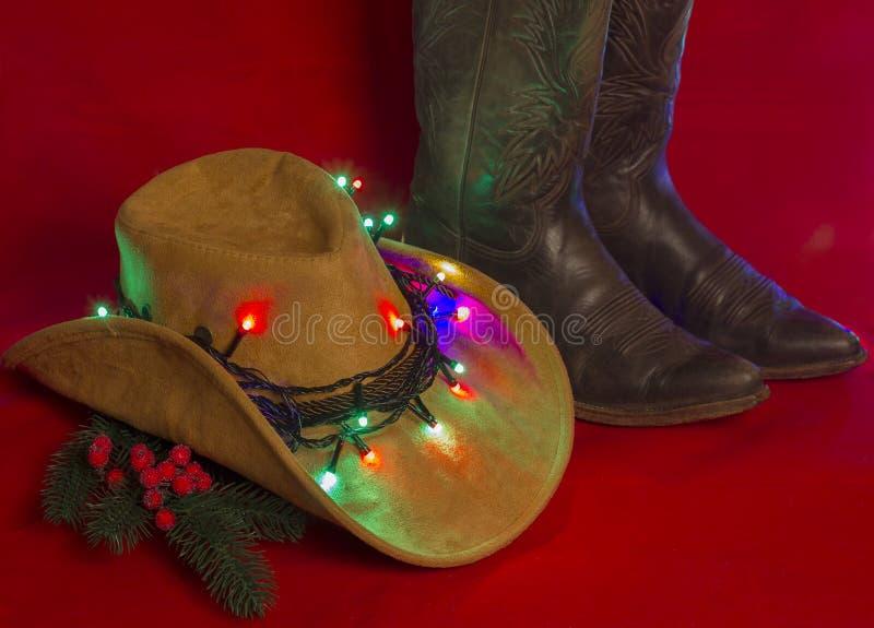 牛仔圣诞节 在圣诞节的美国西部传统起动关于 免版税库存图片