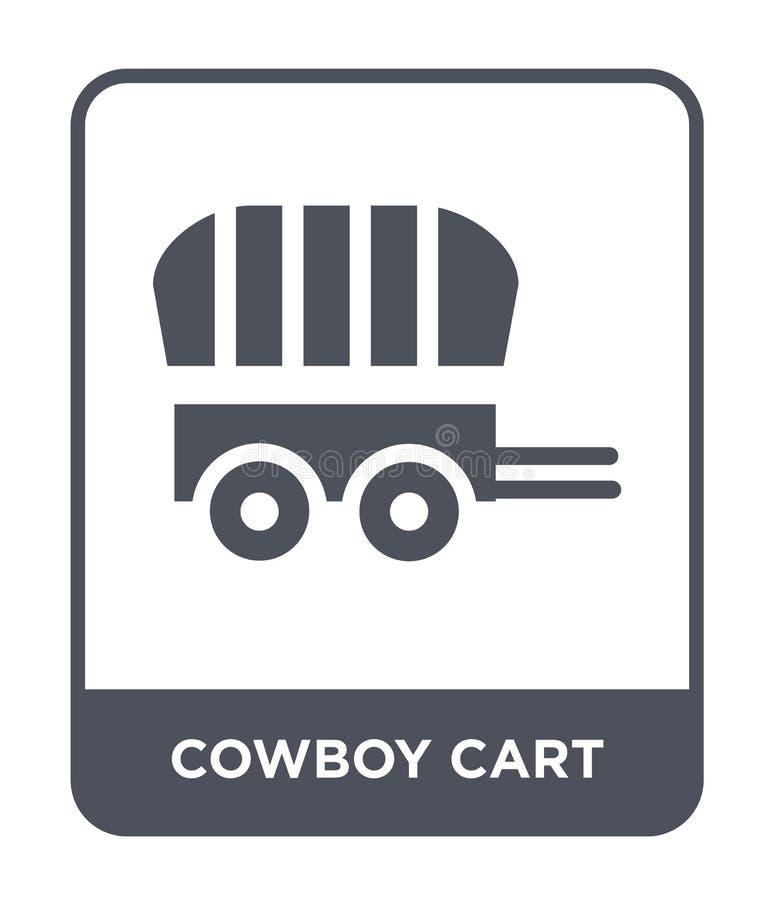 牛仔在时髦设计样式的推车象 牛仔在白色背景隔绝的推车象 牛仔推车现代传染媒介的象简单和 库存例证