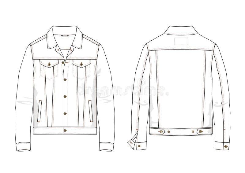 牛仔布夹克技术剪影在传染媒介的 库存例证