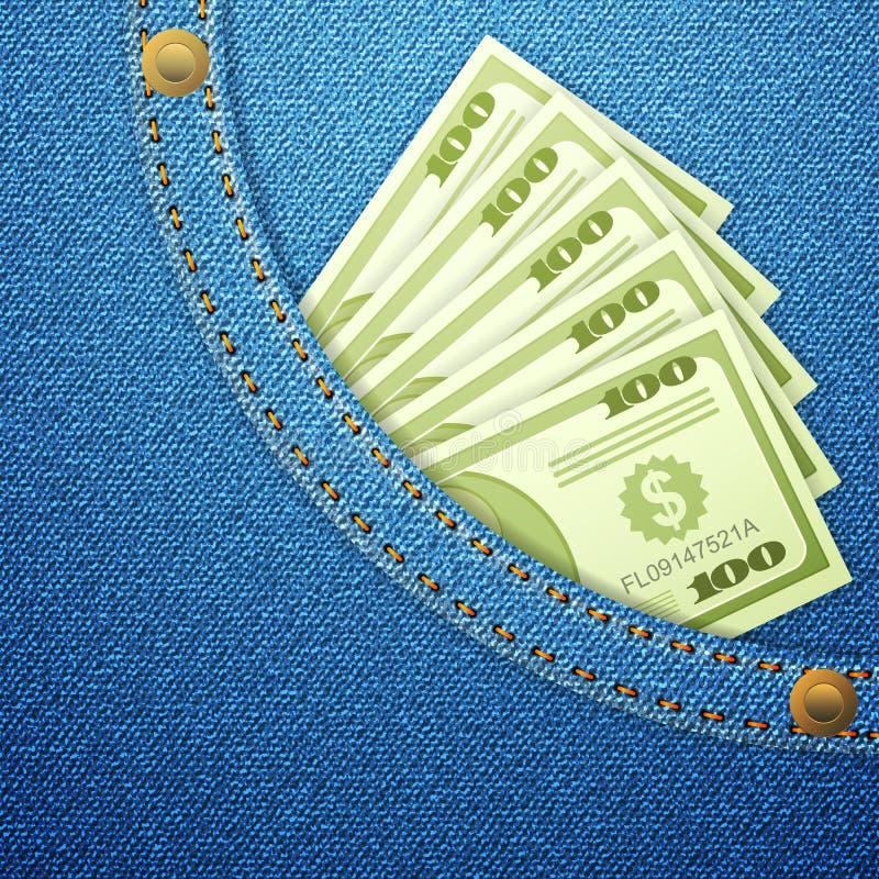 牛仔布矿穴和美元钞票 向量例证