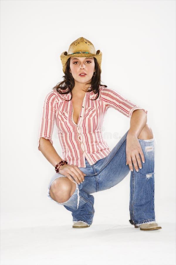 牛仔帽俏丽的妇女 库存图片