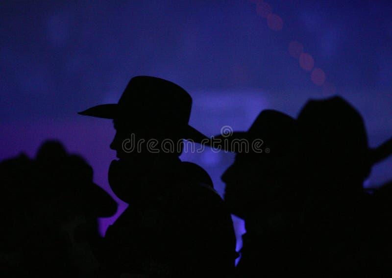牛仔帽剪影 免版税库存照片