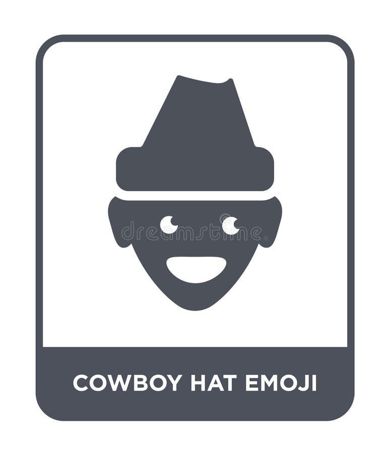 牛仔帽在时髦设计样式的emoji象 牛仔帽在白色背景隔绝的emoji象 牛仔帽emoji传染媒介象 库存例证
