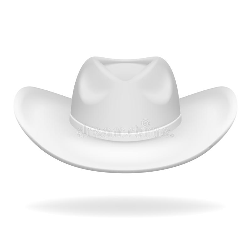 牛仔帽白色被隔绝的3d现实象设计传染媒介例证 库存例证