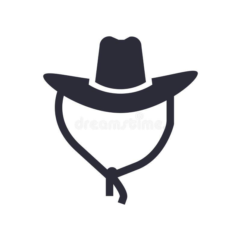 牛仔帽象在白色背景和标志隔绝的传染媒介标志,牛仔帽商标概念 皇族释放例证