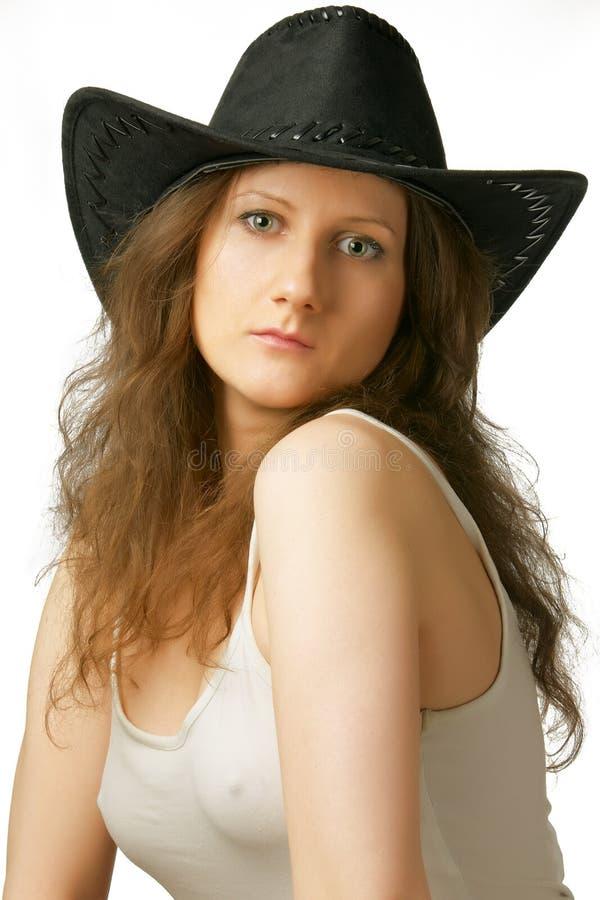 牛仔相当女孩帽子 库存图片
