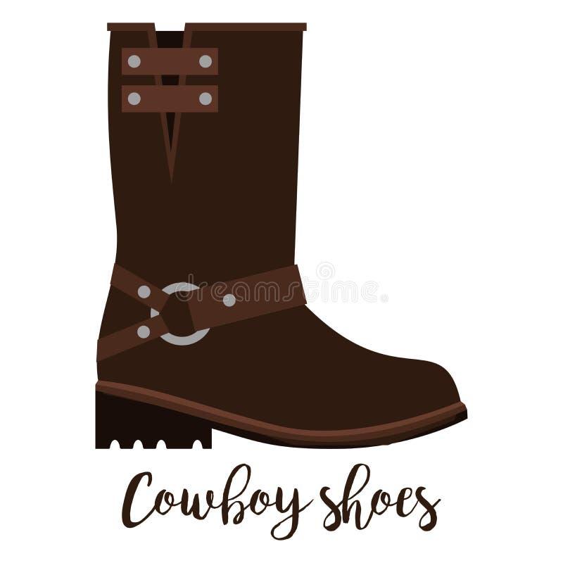 牛仔穿上鞋子与文本的象 皇族释放例证