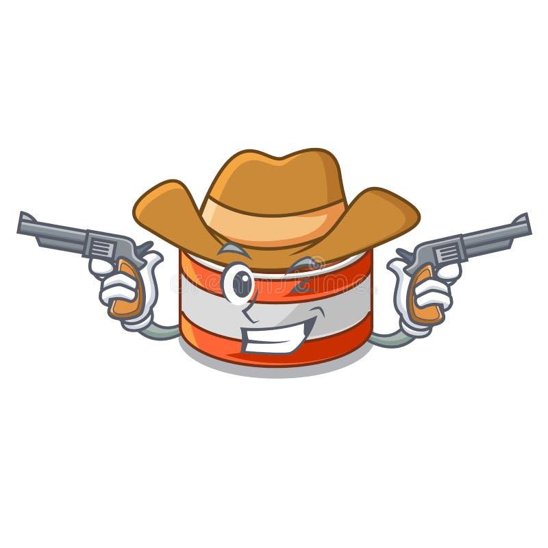 牛仔装金枪鱼于罐中隔绝与在吉祥人 向量例证