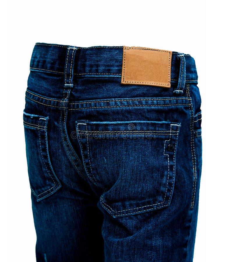 牛仔裤、蓝色牛仔裤和白色背景 库存图片