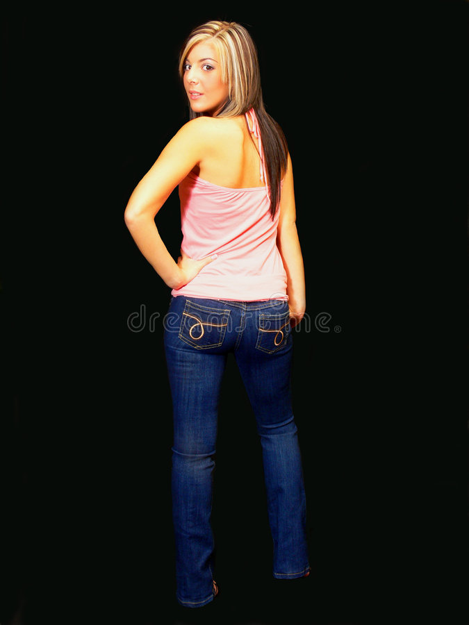 牛仔裤夫人年轻人 库存照片