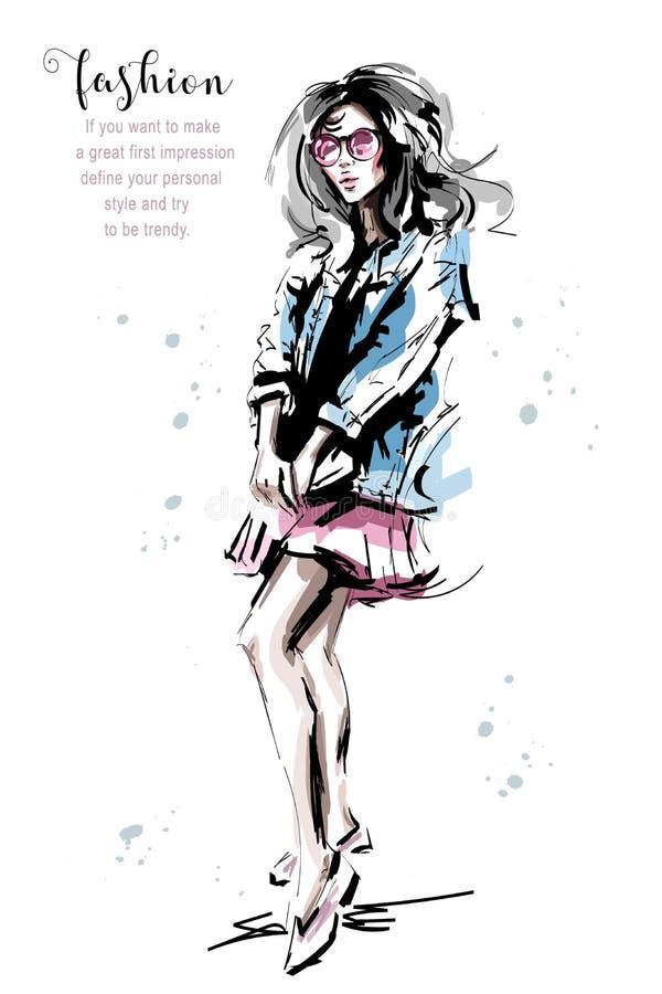 牛仔裤夹克的手拉的美丽的少妇 时髦的典雅的女孩 时尚妇女成套装备 向量例证