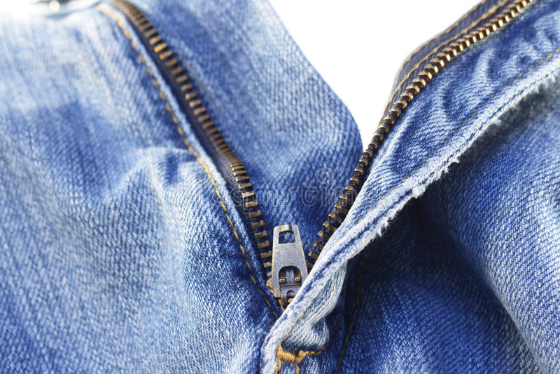 牛仔裤白色拉链 库存照片