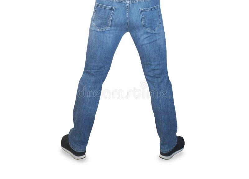 牛仔裤的人支持看法 免版税库存图片