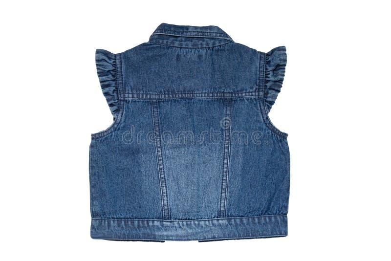 牛仔裤背心时尚 无袖的蓝色牛仔裤授予或在白色背景隔绝的女孩的夹克 后面看法前面 库存照片
