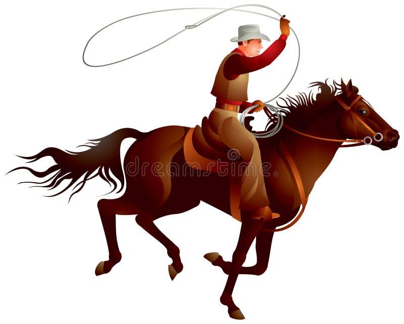 牛仔车手投掷的套索 库存例证