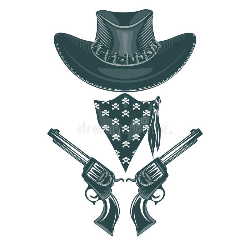 牛仔集合 帽子、左轮手枪和面具 单色手拉的tatoo样式 库存例证